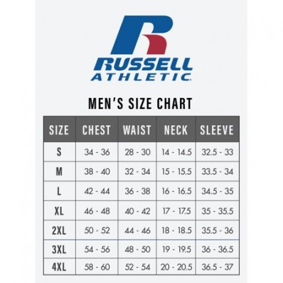 russell jersey size chart