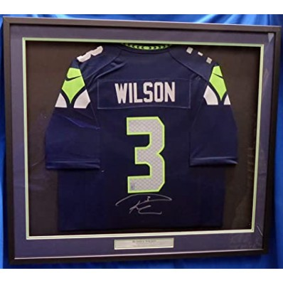 russell wilson signed jersey framed